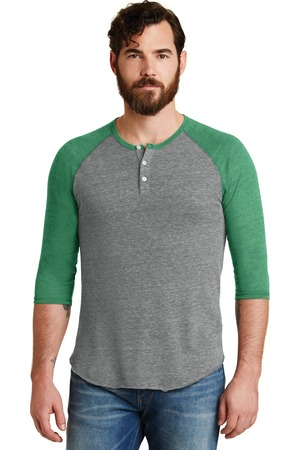 Alternative® Eco-Jersey 3/4-Sleeve Raglan Henley. AA1989