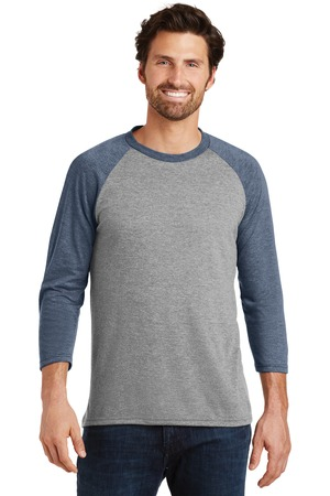District Made® Mens Perfect Tri™ 3/4-Sleeve Raglan. DM136