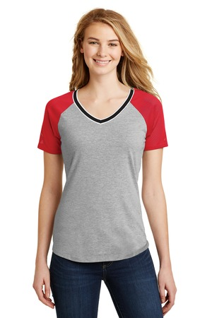 District® Juniors Mesh Sleeve V-Neck Tee. DT276
