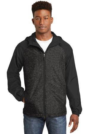 NEW Sport-Tek® Heather Colorblock Raglan Hooded Wind Jacket. JST40