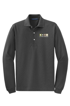 LIVING SPACES MEN'S LONG SLEEVE POLO GREY - K455LS