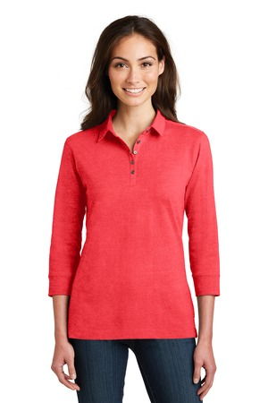 NEW Port Authority® Ladies 3/4-Sleeve Meridian Cotton Blend Polo. L578