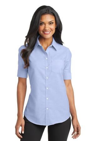 Port Authority® Ladies Short Sleeve SuperPro™ Oxford Shirt. L659