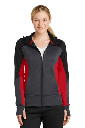NEW Sport-Tek® Ladies Tech Fleece Colorblock Full-Zip Hooded Jacket. LST245