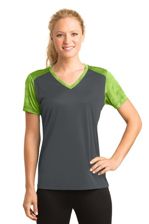 NEW Sport-Tek® Ladies CamoHex Colorblock V-Neck Tee. LST371