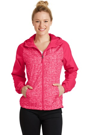 NEW Sport-Tek® Ladies Heather Colorblock Raglan Hooded Wind Jacket. LST40