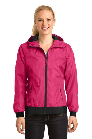 Sport-Tek® Ladies Embossed Hooded Wind Jacket. LST53