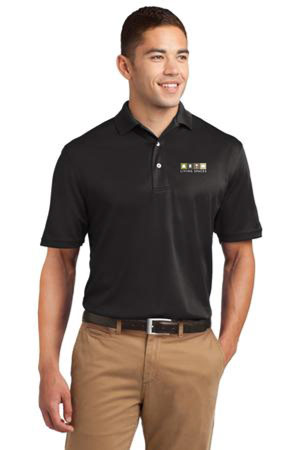 LIVING SPACES MEN'S DRI MESH POLO TALL BLACK - K469