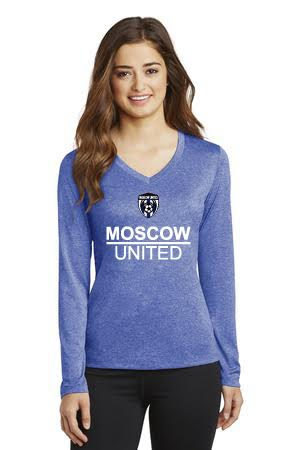 Moscow United Soccer Ladies' Long Sleeve Heather V-Neck Tee. LST360LS